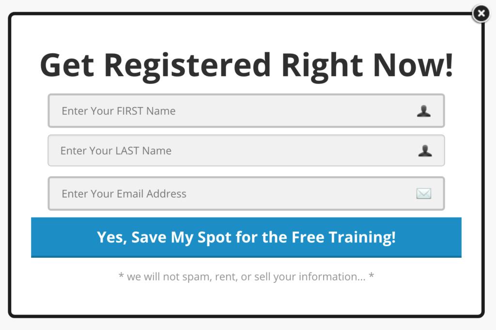 Freedom Digital Marketing sign up form.