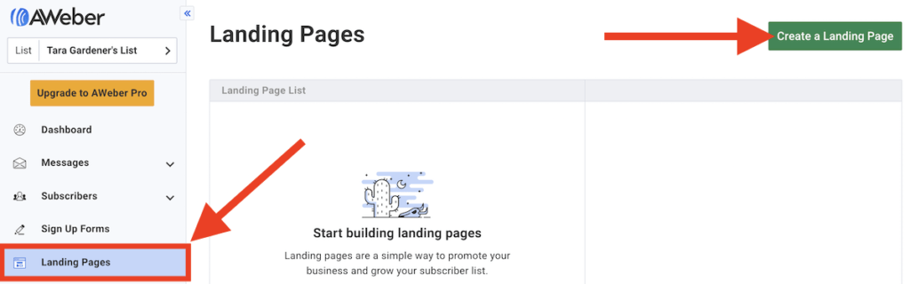 Screen shot showing where to create a landing page in AWeber's platform