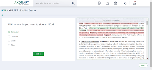 AXDRAFT document drafting questionnaire