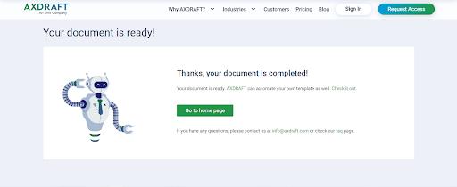 AXDRAFT document is ready