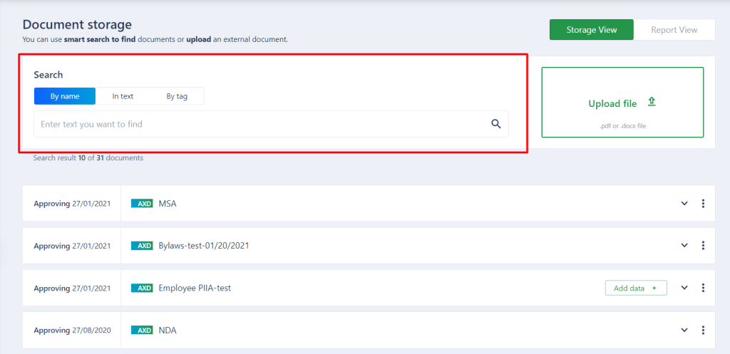 Smart search box in AXDRAFT