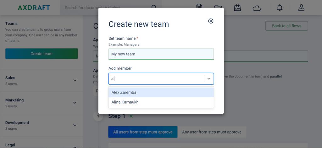 AXDRAFT Create New Team