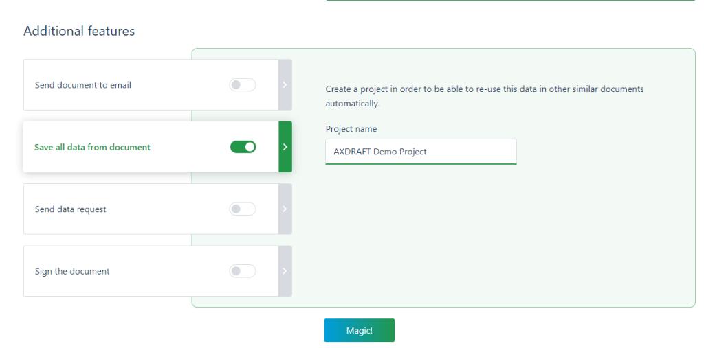 AXDRAFT Save Data From Document