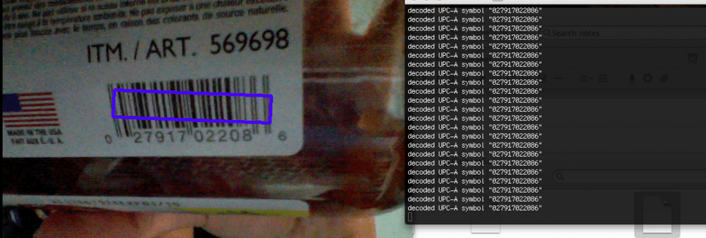 Real time QR Code / Bar code detection with webcam using OpenCV and