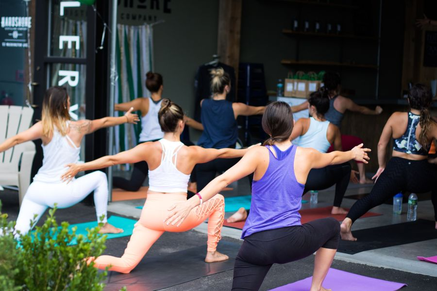 Group of Women Performing a Yoga Pose