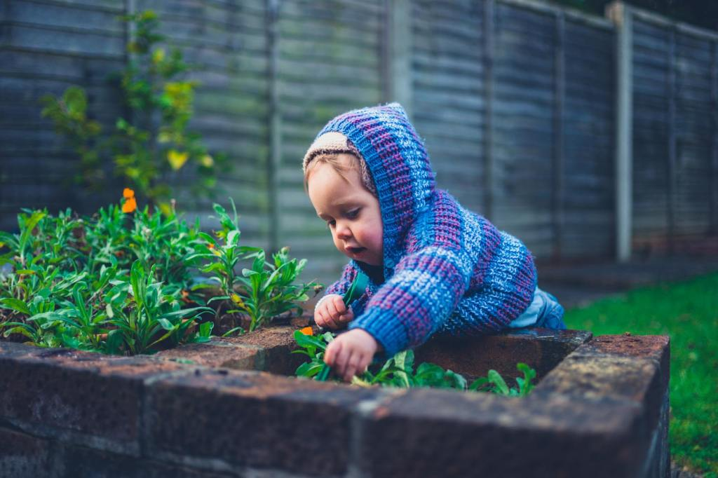 Child playing in a garden with winter vegetables