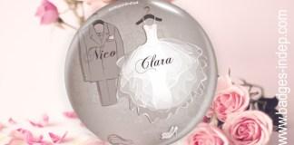 Badge mariage ou badge personnalisé mariage original