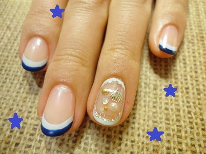 ジェルネイル海貝殻夏のデザイン