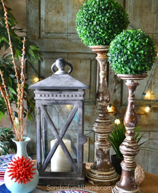 Ideas for Decorating with Lanterns   Balsam Hill Balsam Hill     Charming tablescape with lantern and flameless candle
