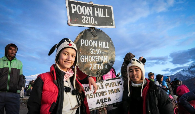 Couple trekking poonhill
