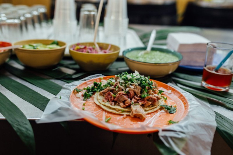 A pastor taco on a plate