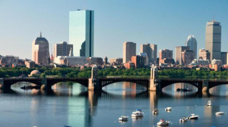 Boston Skyline over the Charles River on the East Coast