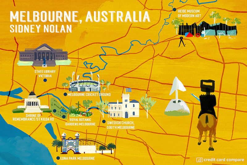 Sidney Nolan- Famous artists draw their hometown maps