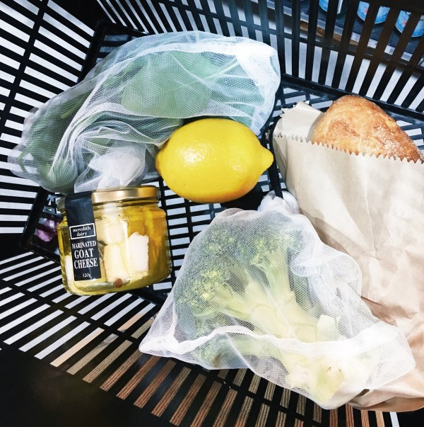 A basket full of groceries packaged plastic free