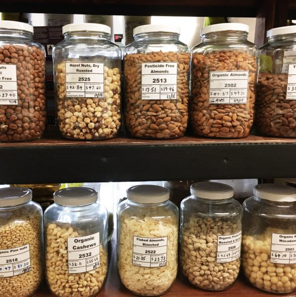 Nuts and lentils sold plastic free in glass jars