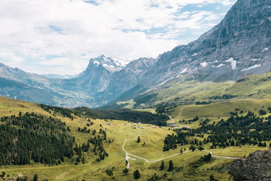 The rolling green hills of Lauterbrunnen Valley in Switzerland as seen from high