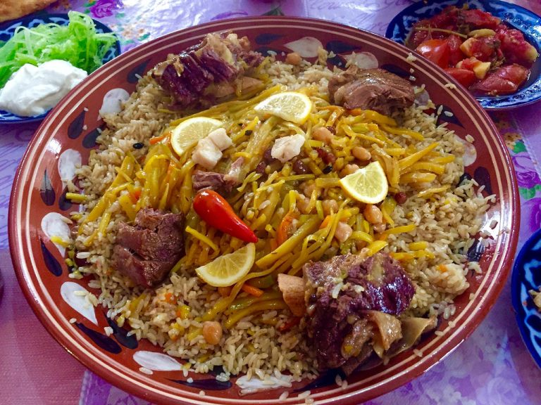 Plov, a traditional and popular meat and rice dish from Uzbekistan