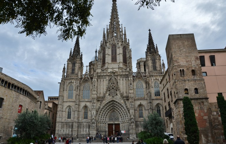 Barcelona Cathedral in Barri Gotic, or gothic quarters, of Barcelona Spain