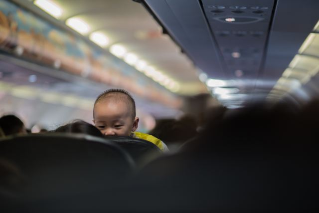 A baby on a plane