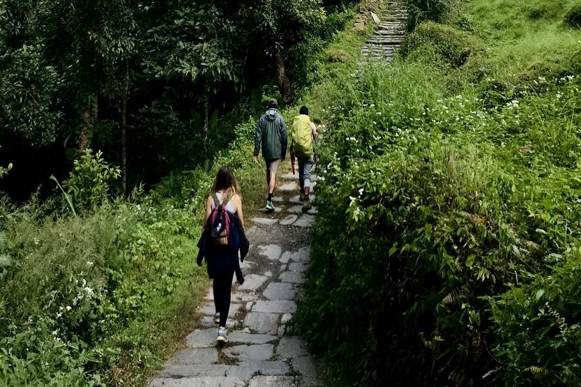 Group of trekkers climbing stairs