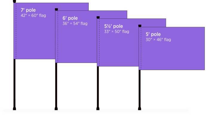 color guard flag size diagram