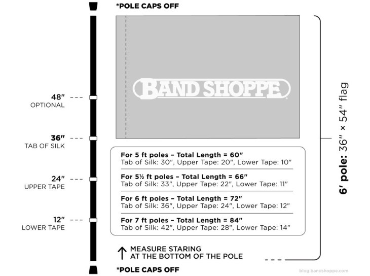 Diagram of proper placement of color guard flag cheater tapes
