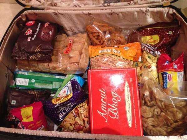 Suitcase full of food