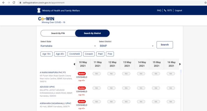 CoWin Slots & Booking