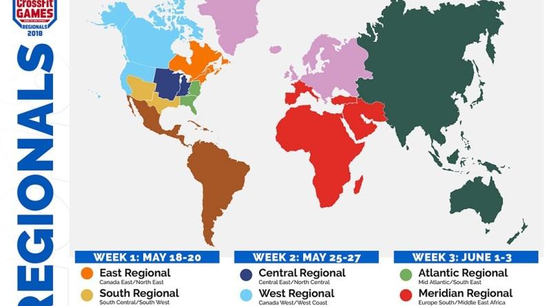2018 CrossFit Regionals Map