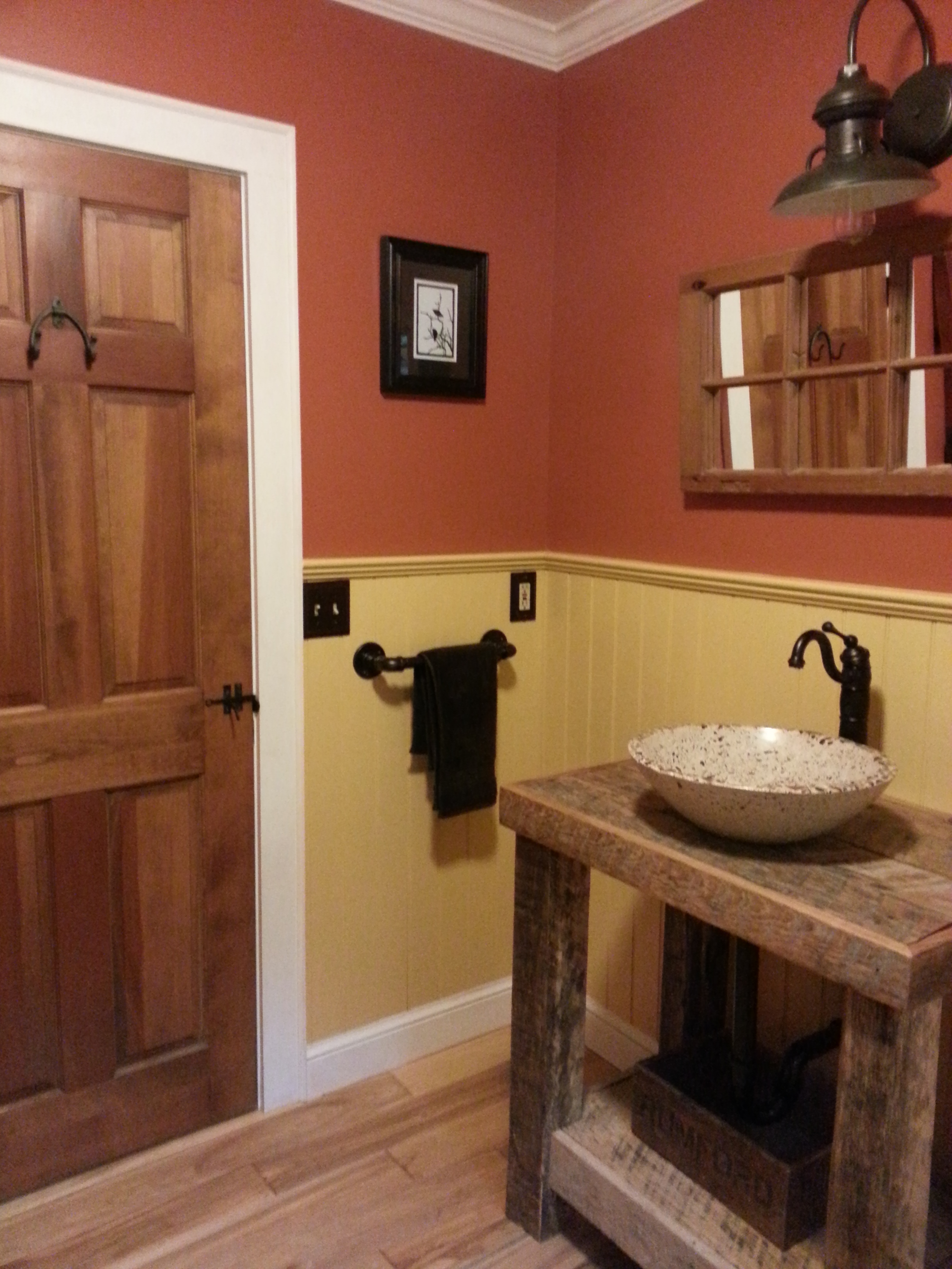 Barn Wall Sconce Adds a Touch of Country to Bathroom ... on Rural Bathroom  id=59300