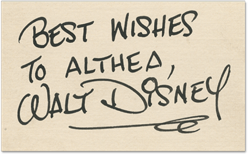 Hank Porter Secretarial Signature for Walt Disney