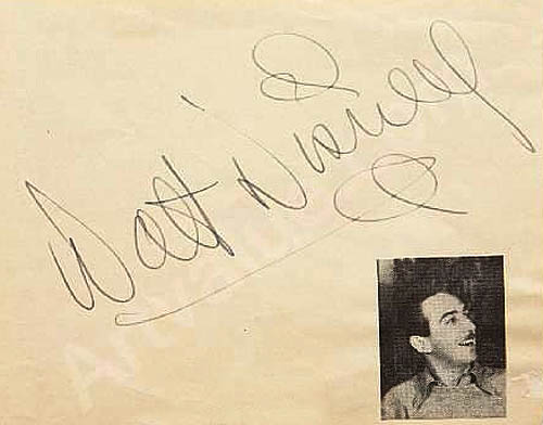 Authentic Walt Disney signature 1938