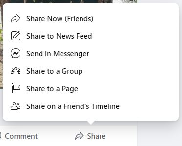 Use the Share Button on the Promotional Post