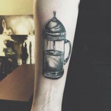 french press tattoo