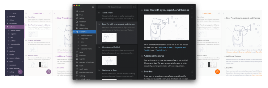 Write your way with beautiful themes and Bear Pro