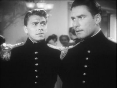 Ronald Reagan as George Custer, and Errol Flynn as Jeb Stuart, in Santa Fe Trail (1940)
