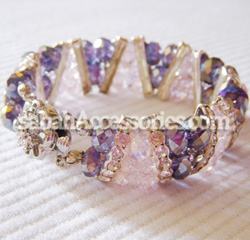 Amethyst and Light Rose Crystal Bracelet