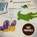 Animals Head and Body Matching Puzzle [Free Printable]
