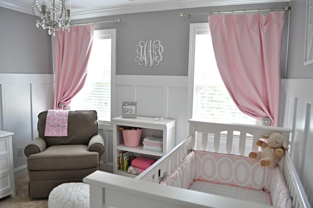 Habitacion de bebe en rosa y gris