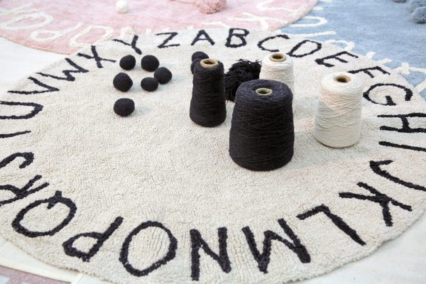 alfombra lavable round abc natural black lorena canals