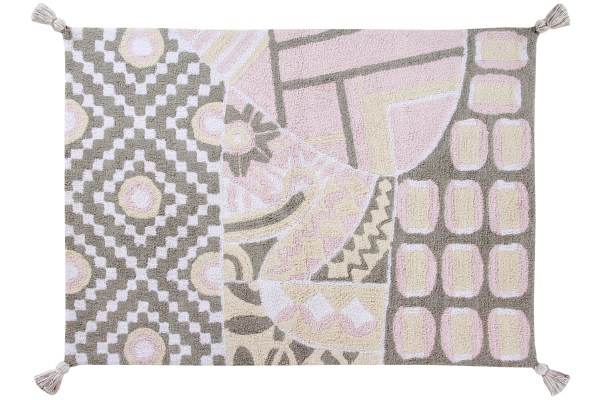 alfombra lavable lorena canals indian gris-rosa