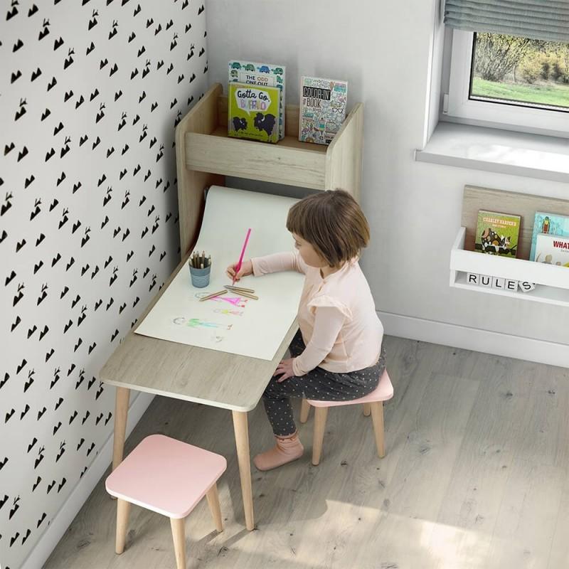 mobiliario moderno para niños de mesa infantil con estanteria Arco Iris