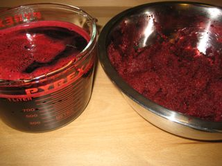 Beet juice and pulp