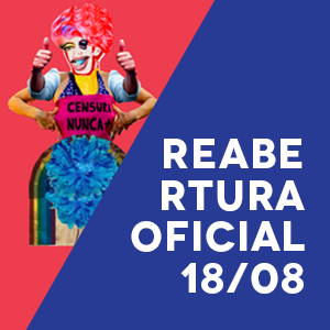 figura queer acompanhada do texto com a data da reabertura oficial do queermuseu