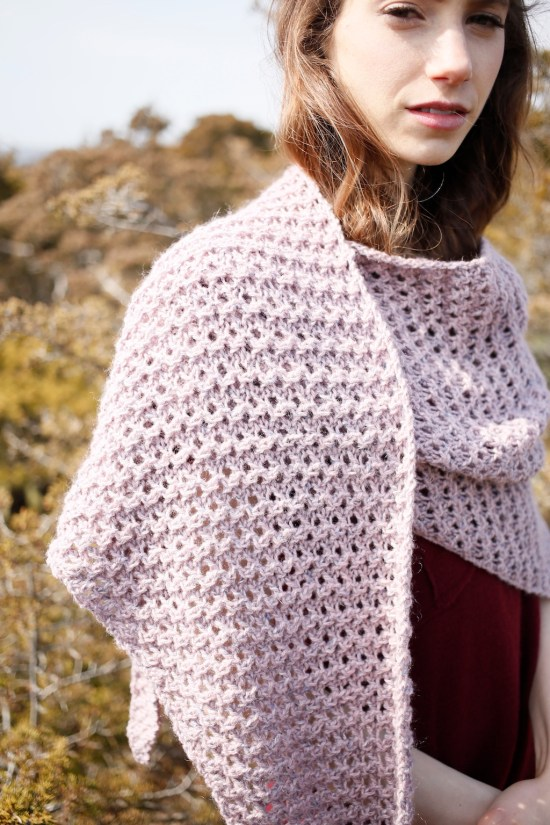 Trout Lily shawl knitting pattern in Berroco Tuscan Tweed