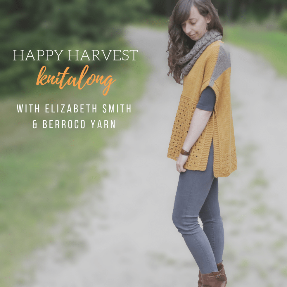 "image of happy harvest poncho and cowl that says ""happy harvest knit-along with elizabeth smith and berroco yarn"""