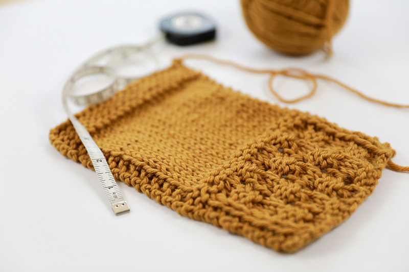 swatch of the lace stitch pattern and stockinette stitch