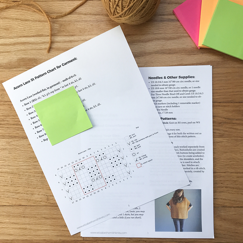 photo of printouts of the Happy Harvest pattern with brightly colored sticky notes