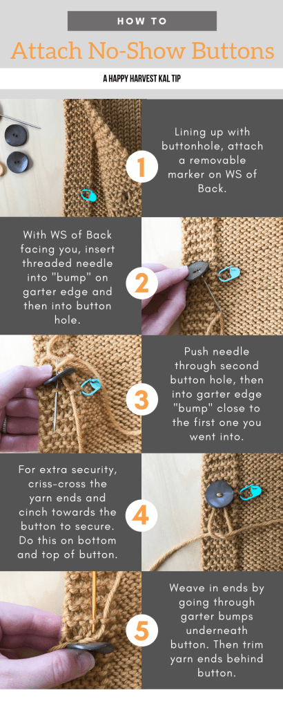 photo tutorial of attaching buttons to the happy harvest poncho