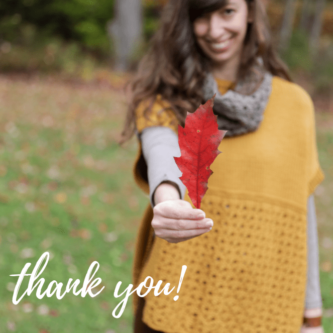 "photo of Elizabeth Smith holding a red leaf while modeling the Happy Harvest set, with the words ""thank you"" on the image"